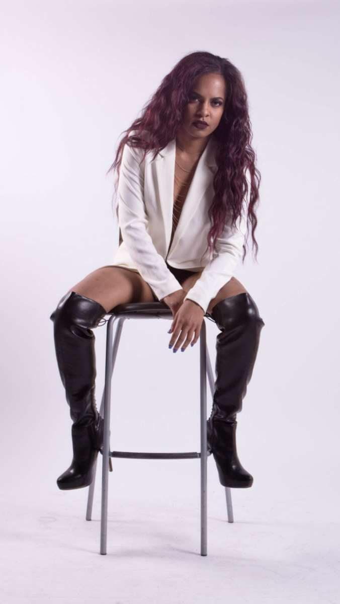 hillyne baptiste model long boots photoshoot branding