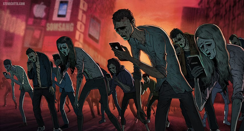 social media addiction art