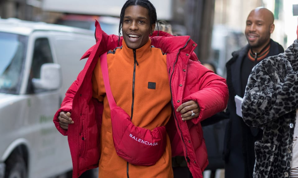 asap rocky fanny pack montreal balenciaga fashion new york fashion week