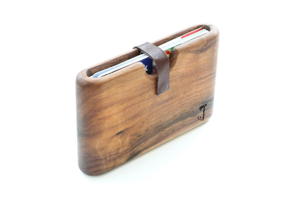slim timber wood wallet card holder