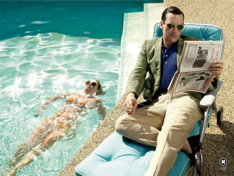 jon hamm, mad men, 70's, pool, success,
